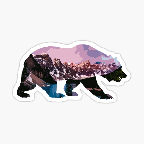 Bear Mountain with Canadian Rocky Mountains Background Sticker