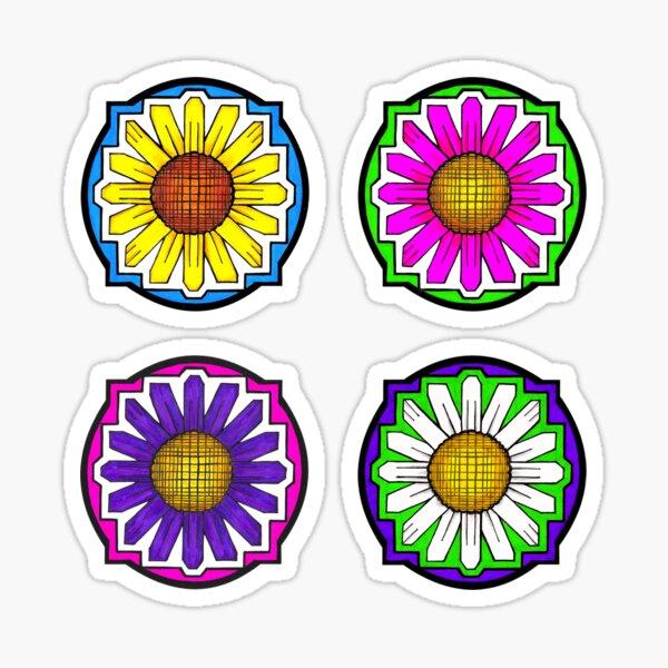 Graphic DAISY Doodle (four-flower set) Sticker