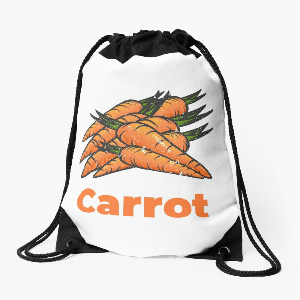 Carrot Vegetable with Name Drawstring Bag