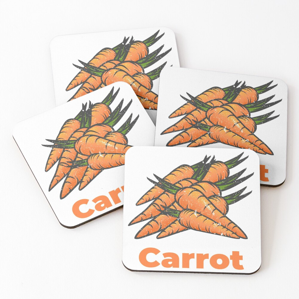 Carrot Vegetable with Name Coasters (Set of 4)