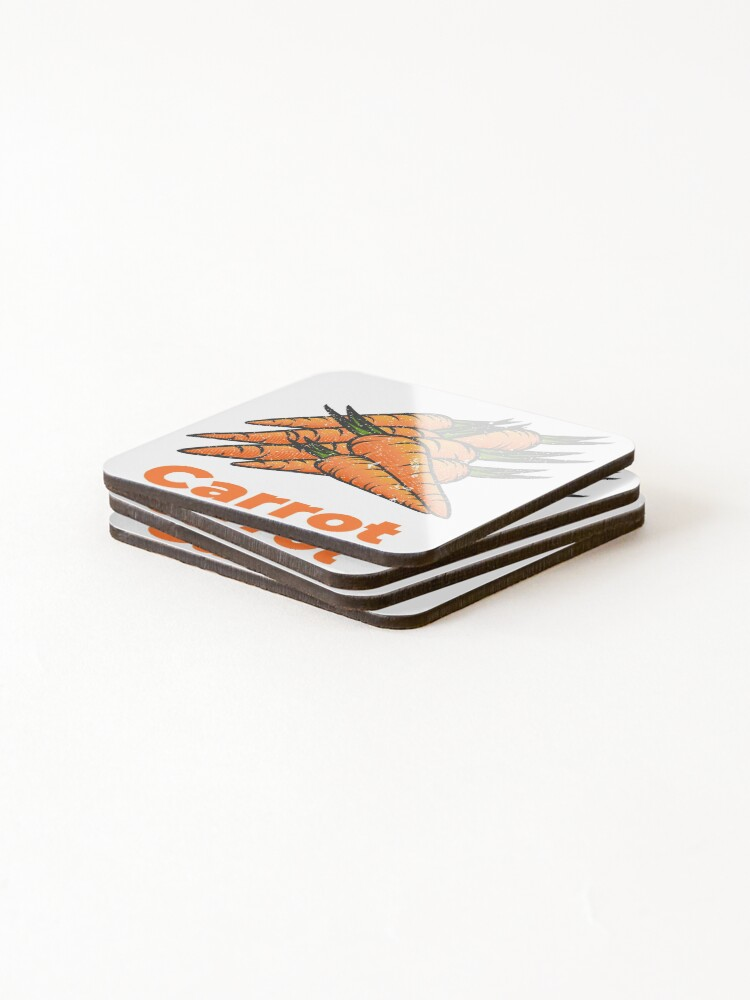 Alternate view of Carrot Vegetable with Name Coasters (Set of 4)