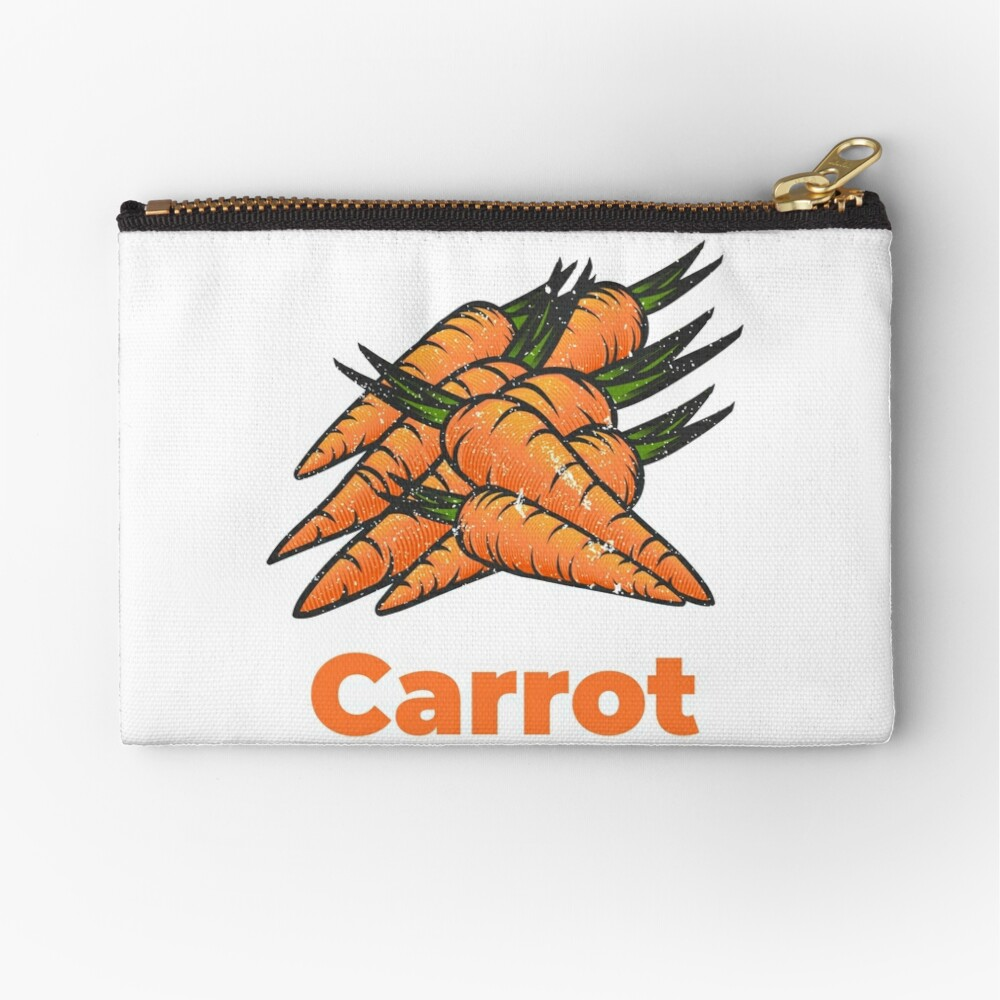 Carrot Vegetable with Name Zipper Pouch