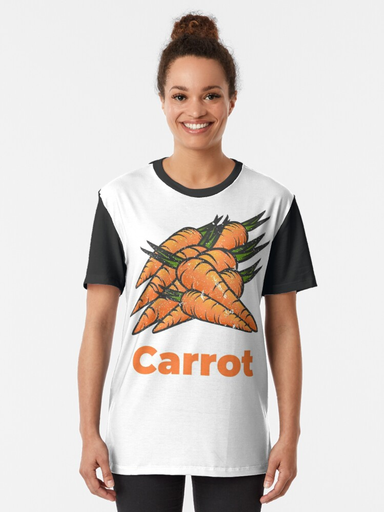 Alternate view of Carrot Vegetable with Name Graphic T-Shirt