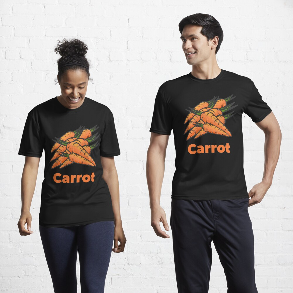Carrot Vegetable with Name Active T-Shirt