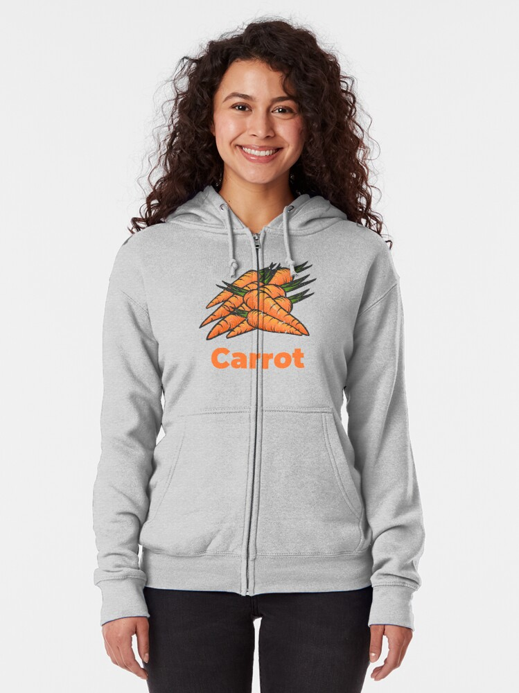 Alternate view of Carrot Vegetable with Name Zipped Hoodie