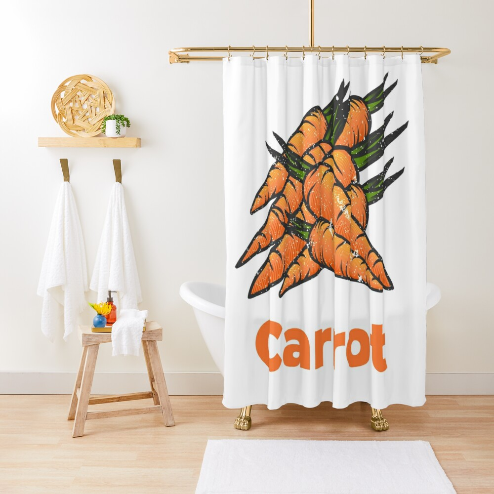 Carrot Vegetable with Name Shower Curtain