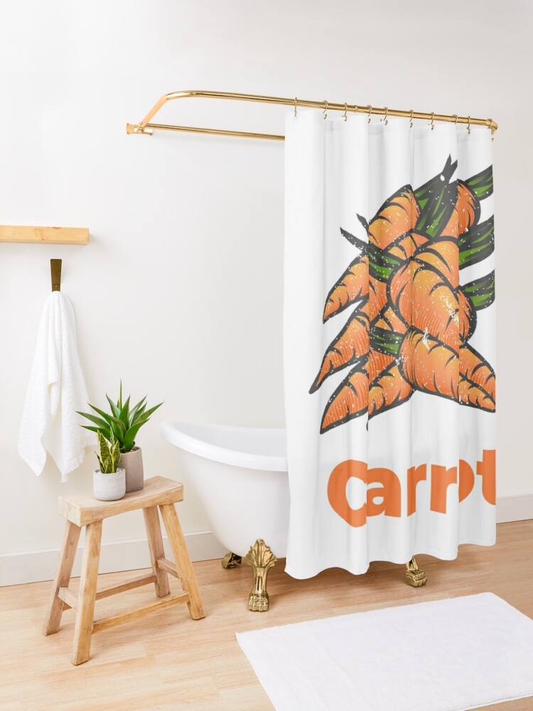 Alternate view of Carrot Vegetable with Name Shower Curtain