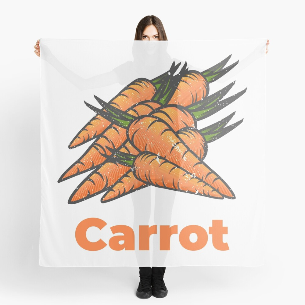 Carrot Vegetable with Name Scarf