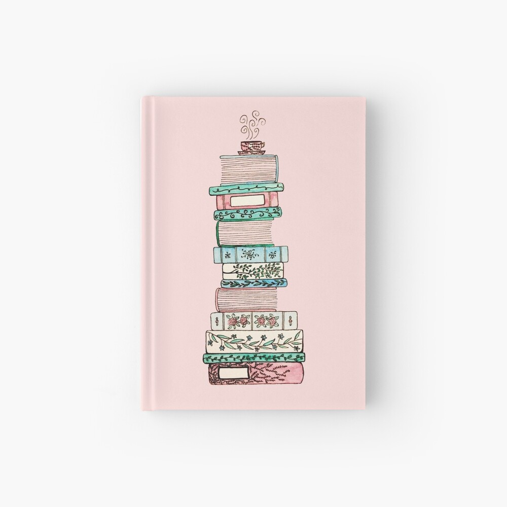 Pink and Blue Floral Bookstack Hardcover Journal