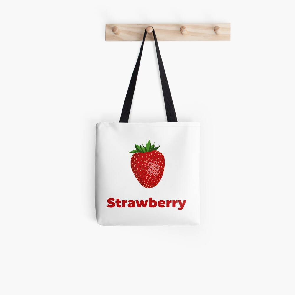 Strawberry Fruit with Name Tote Bag