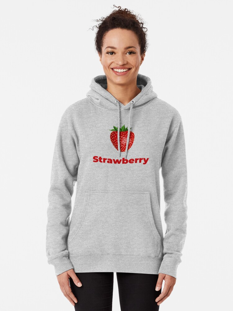 Alternate view of Strawberry Fruit with Name Pullover Hoodie