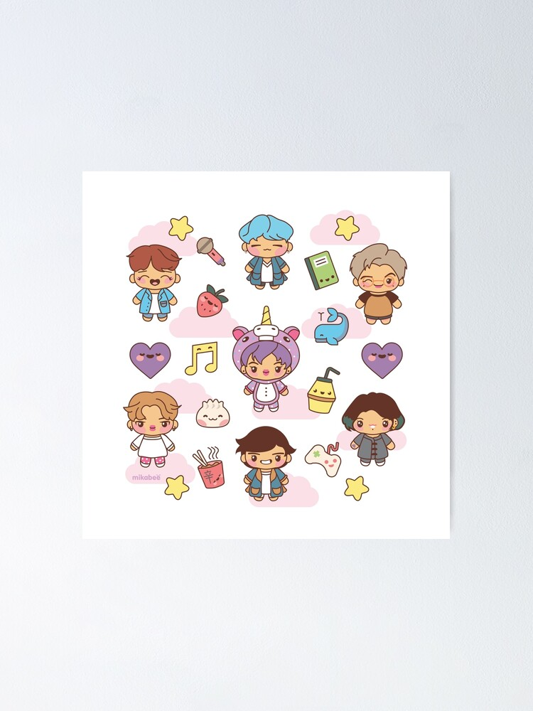 Alternate view of BTS Pajama Party (White/Clear Version) Poster