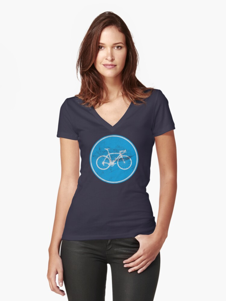 Cyclists Only Women's Fitted V-Neck T-Shirt Front