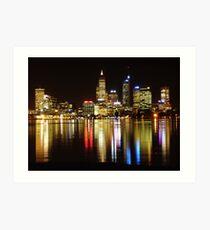Perth skyline at night Art Print
