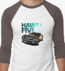 Hawaii Five-O Black Camaro (White Outline) Men's Baseball ¾ T-Shirt