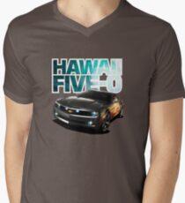 Hawaii Five-O Black Camaro (White Outline) Men's V-Neck T-Shirt