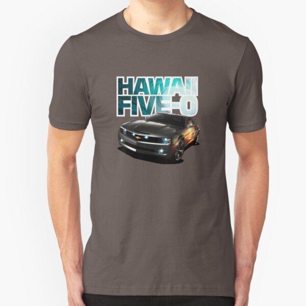 Hawaii Five-O Black Camaro (White Outline) Slim Fit T-Shirt