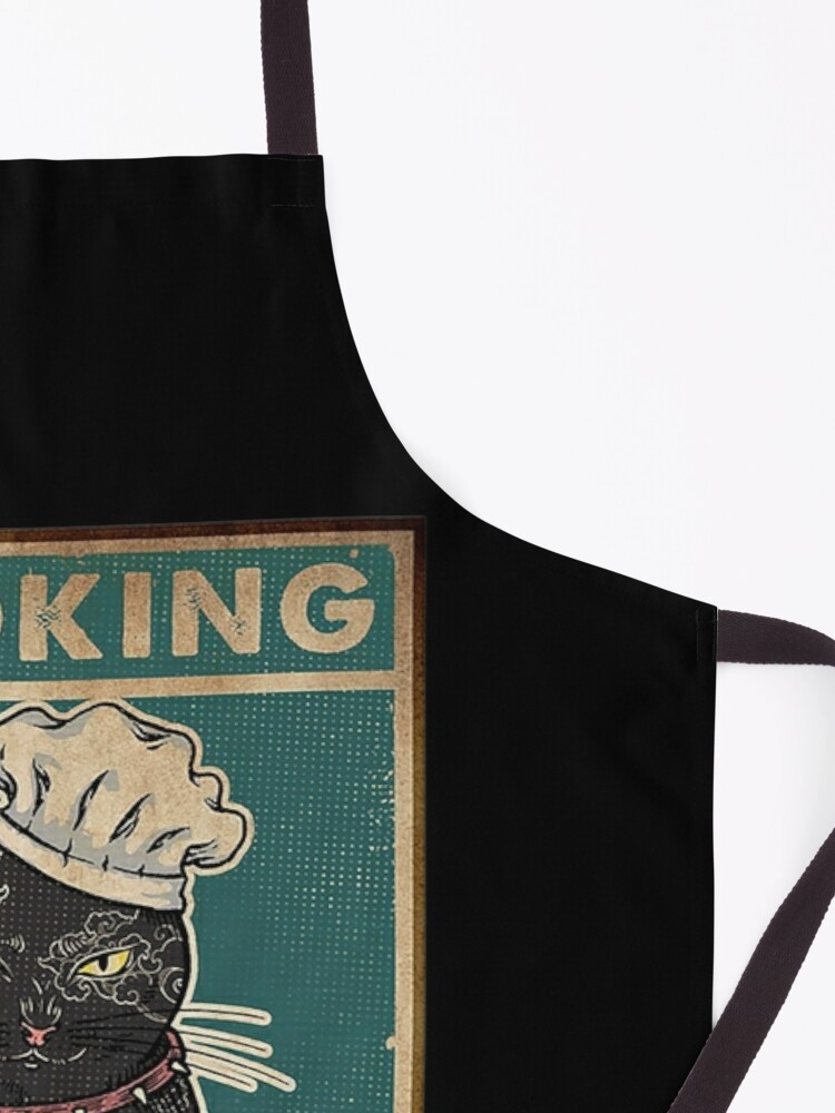 Alternate view of Black Cat Cooking because murder is wrong cat lover gifts Apron