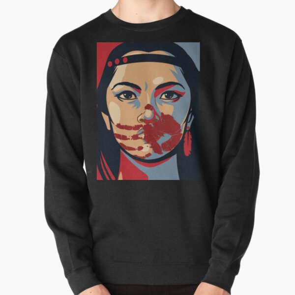 MMIW Awareness Native American Woman Artwork For The Missing and Murdered Indigenous Women Version 2 Pullover Sweatshirt