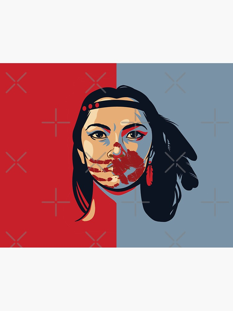MMIW Awareness Native American Woman Artwork For The Missing and Murdered Indigenous Women Version 2 by RKasper