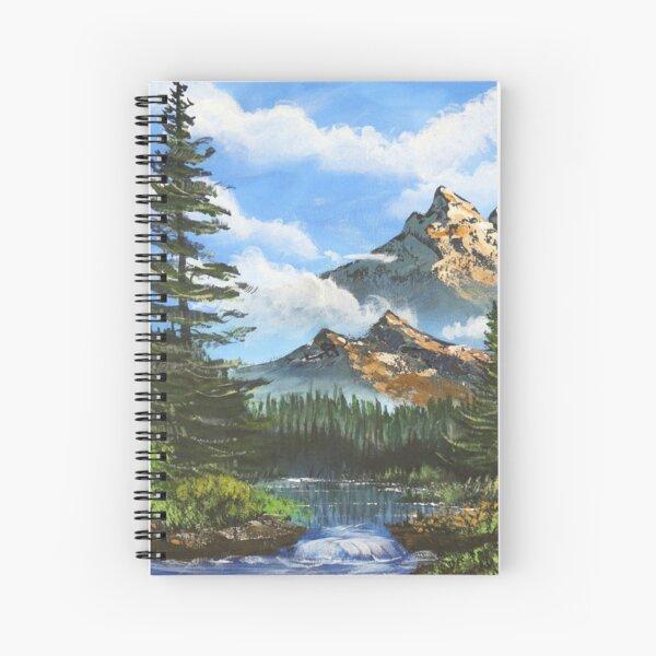 Bob Ross Inspired Landscape - Mountain Art Spiral Notebook