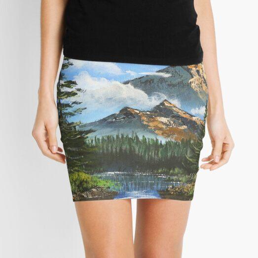 Bob Ross Inspired Landscape - Mountain Art Mini Skirt