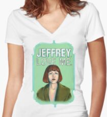 BIG LEBOWSKI-Maude Lebowski- Jeffrey. Love me. Women's Fitted V-Neck T-Shirt
