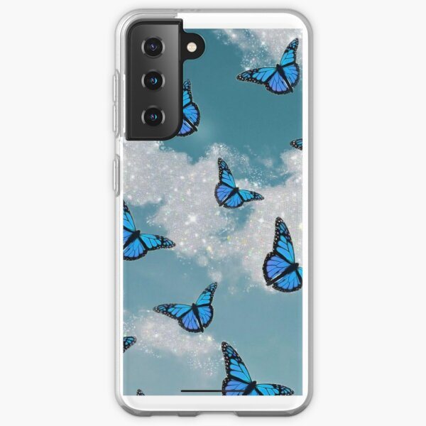 Blue butterfly with glitter clouds phone case  Samsung Galaxy Soft Case