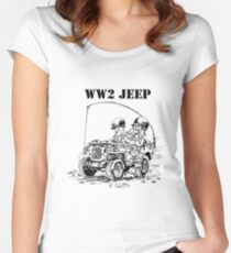 WW2 jeep Women's Fitted Scoop T-Shirt