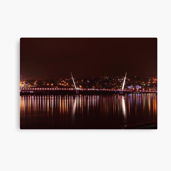 The Peace Bridge At Night Canvas Print