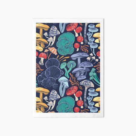 Mystical fungi // midnight blue background multicoloured wild mushrooms Art Board Print