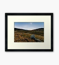 Snowy Mountains at sunset Framed Print