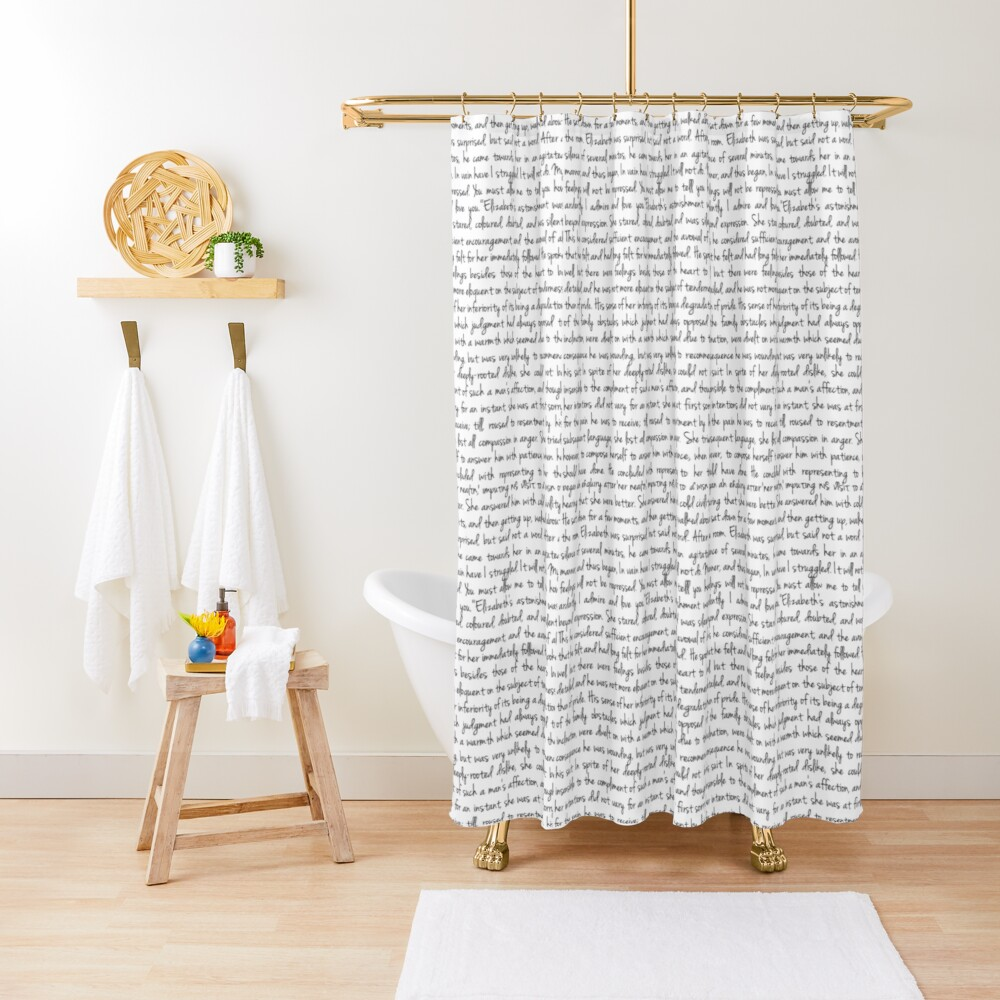 Pride and Prejudice text Shower Curtain