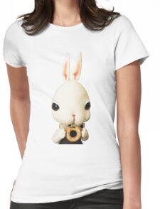 Mr. Bunny loves donut Womens Fitted T-Shirt