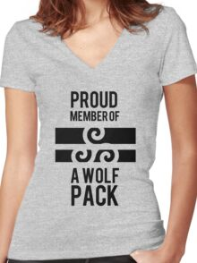 PROUD MEMBER OF A WOLF'S PACK Women's Fitted V-Neck T-Shirt