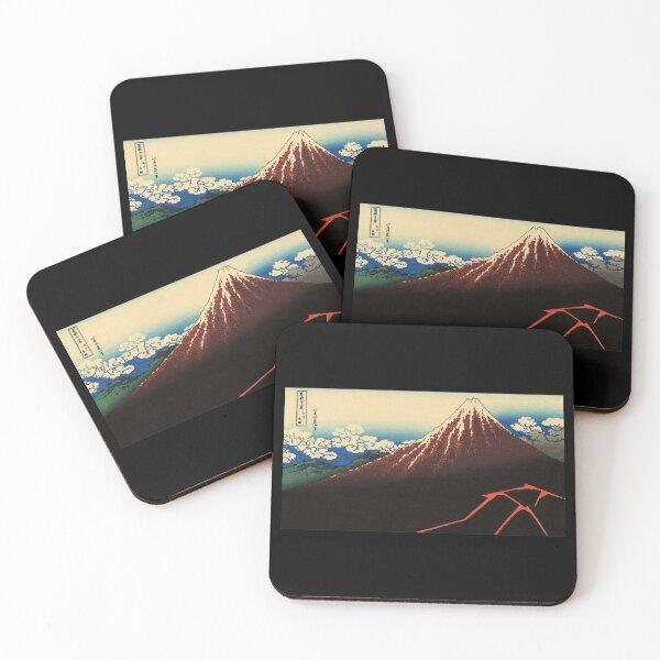 HOKUSAI. Rainstorm beneath the Summit. 18, 263. c1821. Coasters (Set of 4)