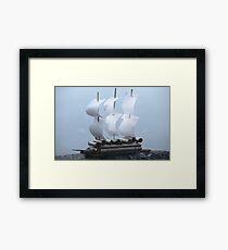 Paper Sailing ship on a blue background Framed Print