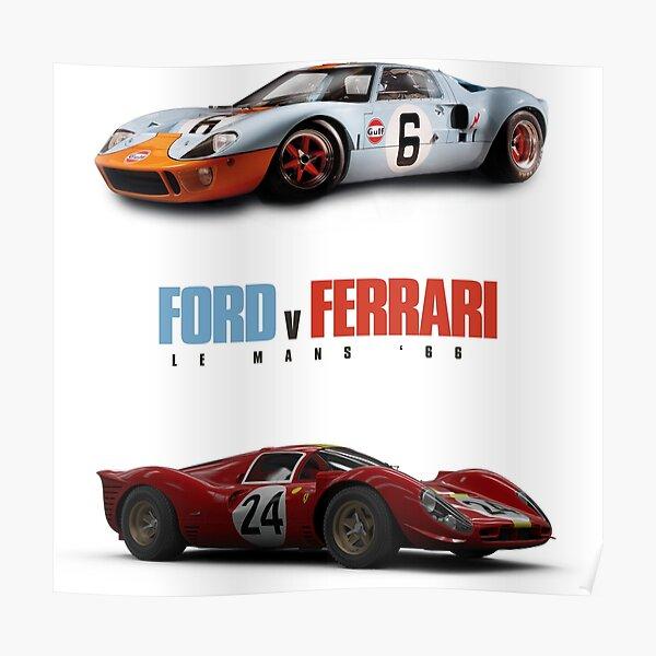 Ford v Ferrari - Le Mans '66 - Logotipo con coches Póster