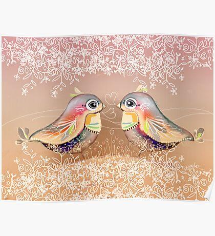 Exotic Peach Lovebirds Poster