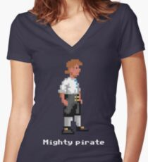Mighty Pirate V2 Women's Fitted V-Neck T-Shirt