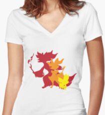 Fennekin Braxian Delphox Women's Fitted V-Neck T-Shirt