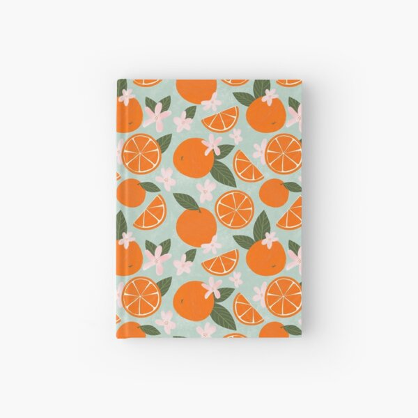 Orange Pattern with wildflowers, leaves and orange slices Hardcover Journal
