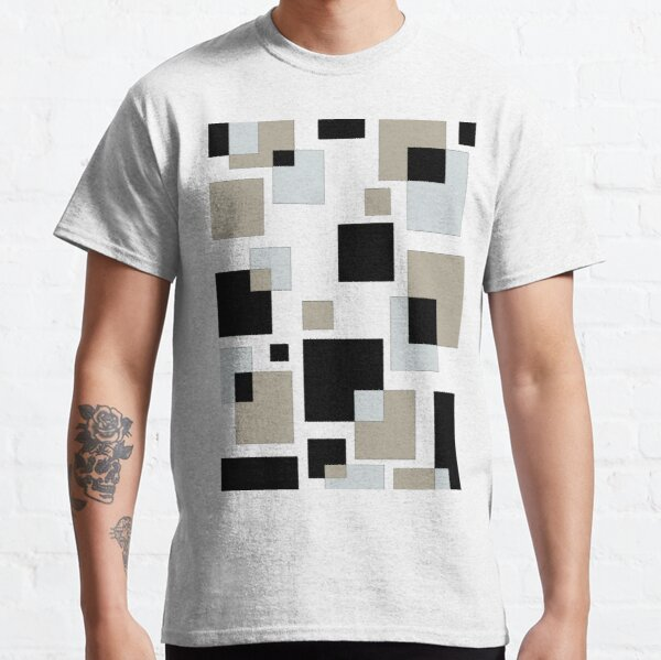 Abstract Square Patterns - Geometrical Cubes - Neutral Colors Classic T-Shirt