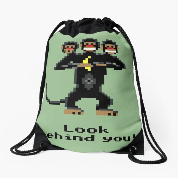 Three-Headed Monkey Drawstring Bag