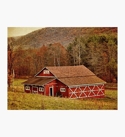 A Red Barn and Fall Landscape Photographic Print