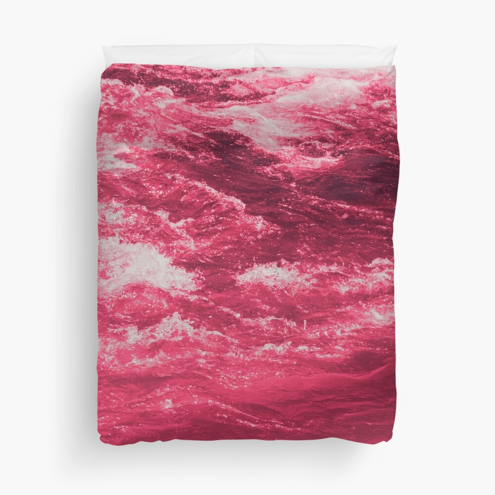 Pink Ocean Waves Duvet Cover