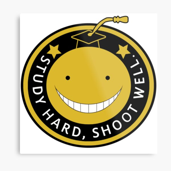 Assassination Classroom - Study hard, Shoot well. Metal Print