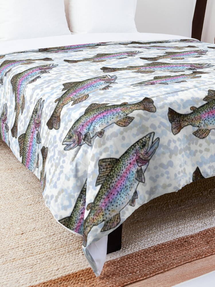 Alternate view of Rainbow Trout Fish Pattern Comforter