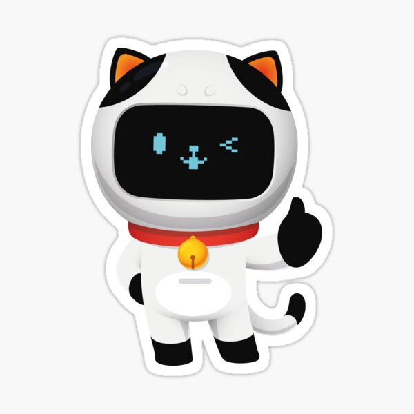gato robot pulgares arriba Pegatina