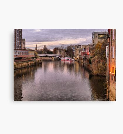 Sunset over River Ouse in York. Canvas Print